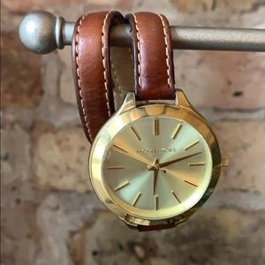 Michael Kors double wrap leather band watch